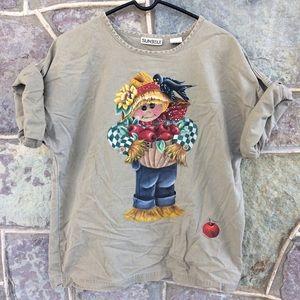 Vintage 90's handpainted scarecrow autumn tee